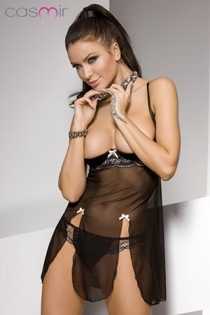 Nuisette seins nus Estes : Nuisette �rotique en tulle, lycra et dentelle, au balconnet seins nus renforc� qui vous met en valeur.