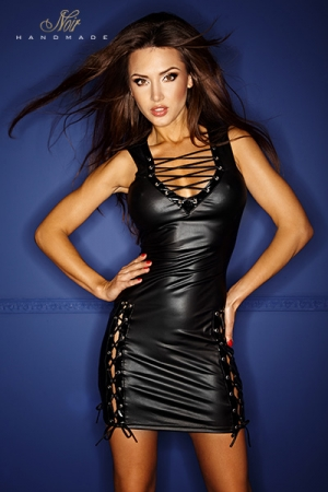 Robe lac�e Bad Cruz : Robe moulante en wetlook mat, barr�e de la�ages sexy tr�s provocants.