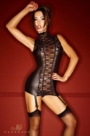 Gu�pi�re Bad Lupa : Une gu�pi�re somptueuse en dentelle et wetlook mat, qui vous sculpte �troitement gr�ce � ses tiges corset.