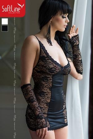 Ensemble dentelle Evie : Ensemble coquin coordonn� plein de charme : une robe en dentelle fendue dans le dos, les mitaines et le string.