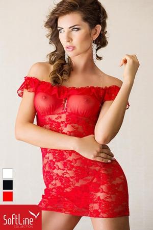 Robe dentelle Veronica - Robe courte transparente en dentelle et tulle, un �crin de sensualit� pour se sentir femme.