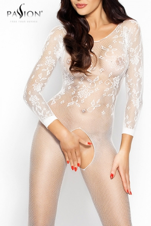 Combinaison Romantic Passion : Combinaison sexy � manches longues en r�sille brod�e, un �crin qui offre l'essentiel de votre beaut�.